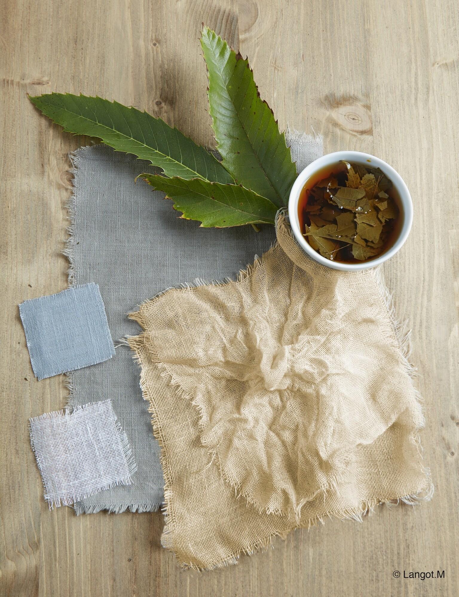 tintura realizzata con foglie di castagne