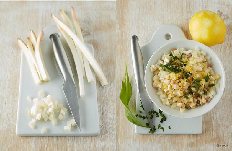 preparazione brunoise asparagi