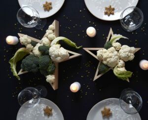natale decorazioni stelle verdura
