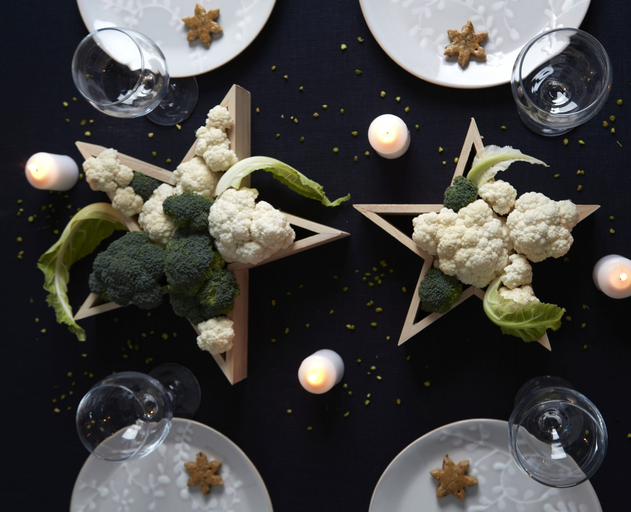 decorazioni natalizie stelle verdura