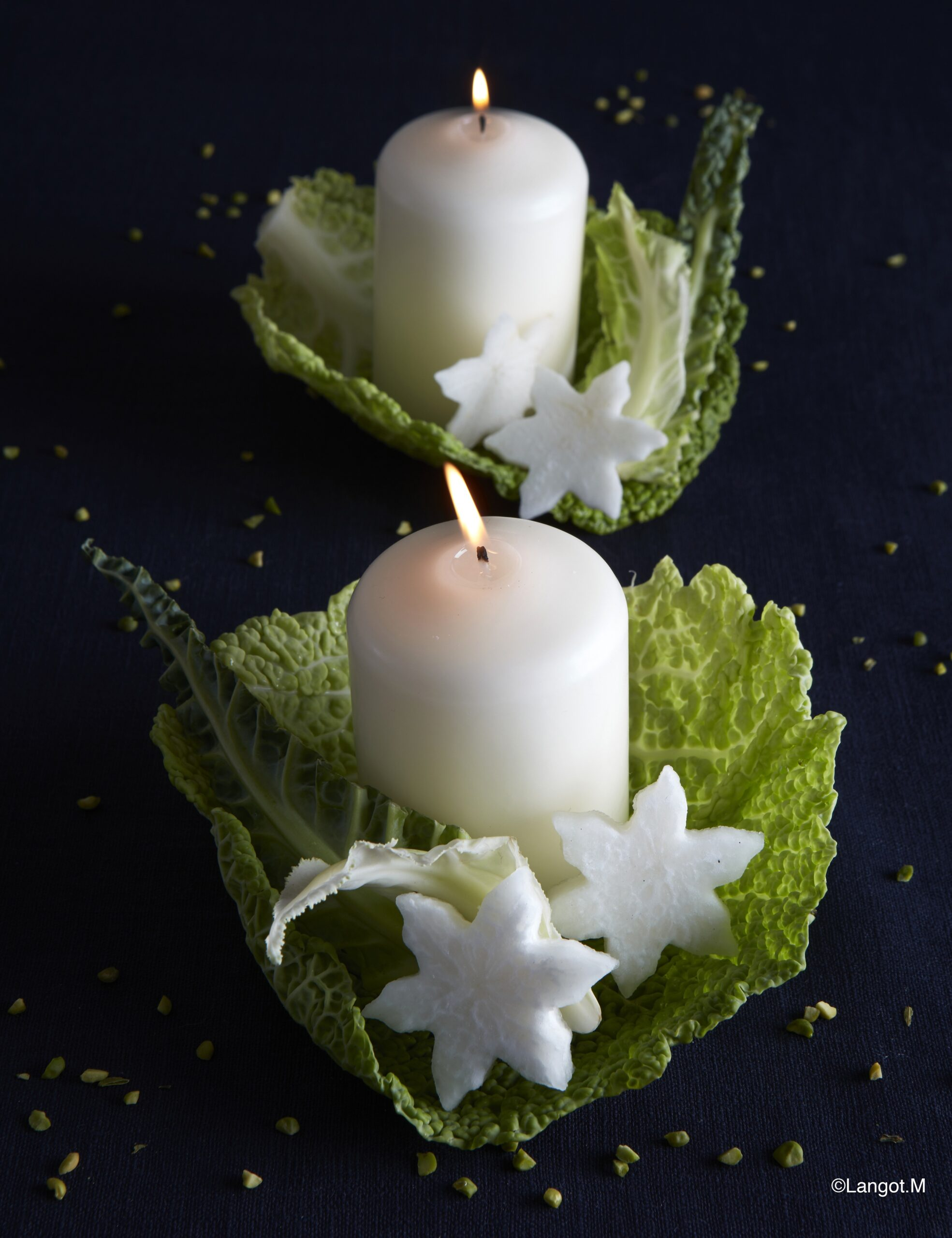 decorazioni candele verdure