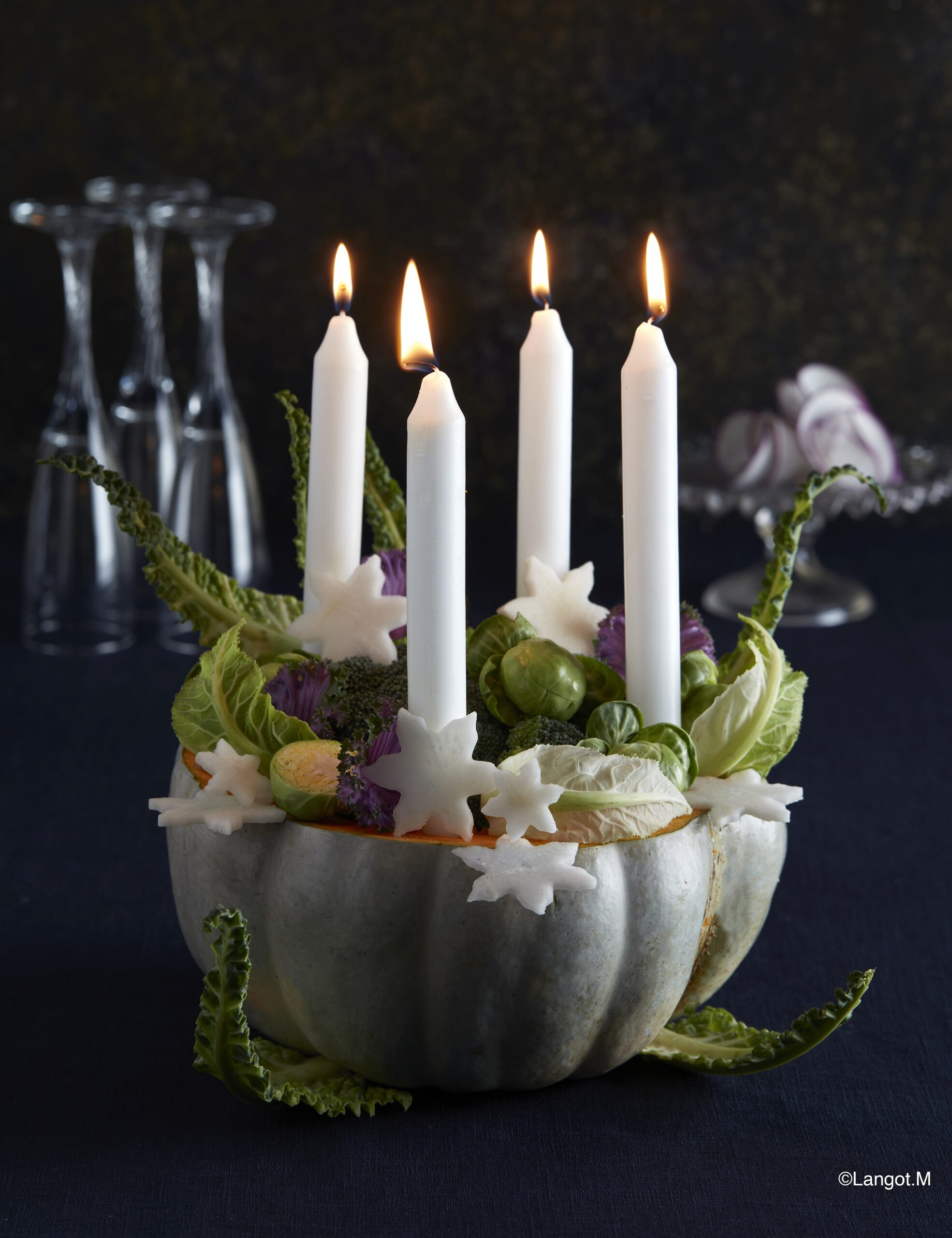 decorazioni candele verdura